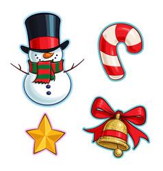 Christmas cartoon icon set - snowman candy cane vector