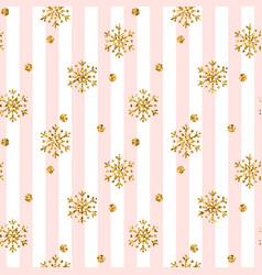 Christmas gold snowflake seamless pattern golden vector