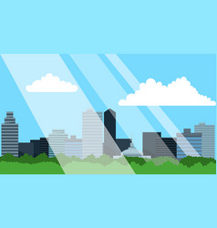 City skyline with skyscrapers business buildings vector