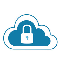 Color silhouette with cloud service with padlock vector