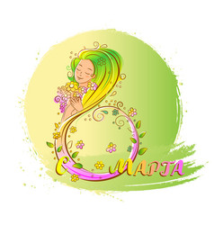 colored 8 march concept with beatiful woman vector image