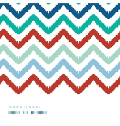 Colorful ikat chevron frame horizontal seamless vector