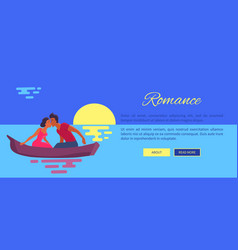 Couple in love swims on purple canoe and kisses vector