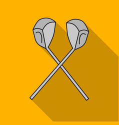 Crossed golf clubs icon in flat style isolated on vector
