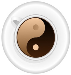Cup of coffee with Yin Yang symbol vector