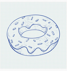 donut blue hand drawn sketch on lined paper vector image