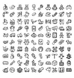 Doodle toys icon set vector