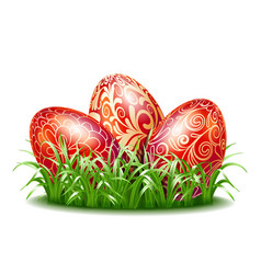 easter background with three red eggs in grass vector image