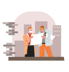 engineers thinking on building planning looking vector image