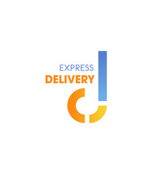 express delivery service letter d icon vector image