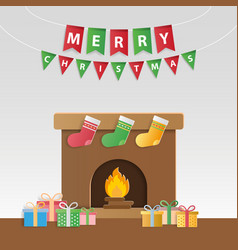 festive christmas gifts and decorated fireplace vector image