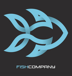 fish from a solid line logo vector image