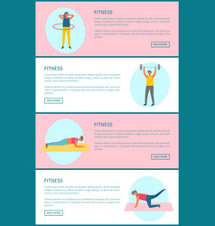 Fitness and healthy lifestyle web page templates vector