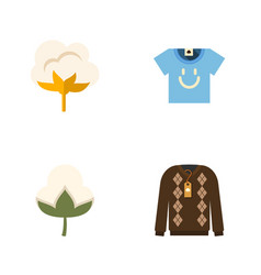Flat icon fiber set of blouse flower cotton and vector