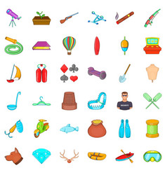Floating icons set cartoon style vector