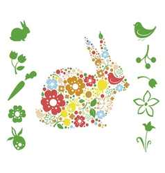 Floral easter elements vector