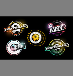 football logo set modern professional typography vector image