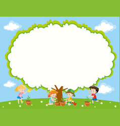 Frame template with kids planting tree in garden vector