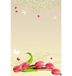 frame with butterflies and tulips vector image