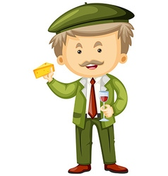 Frenchman with cheese and wine in hands vector