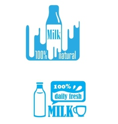 Fresh dairy and 100 percent natural milk labels vector