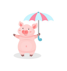 funny pig standing with umbrella cute little vector image