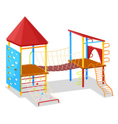 Game place with rope and hill playground vector