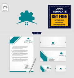 Gear home logo template and stationery design vector