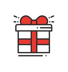 gift box with ribbon line icon present giftbox vector image