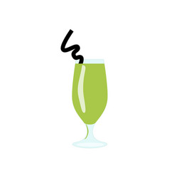 Glass with green exotic alcohol cocktail or juice vector