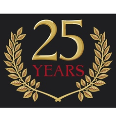 Golden laurel wreath twenty five years anniversary vector