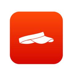 Golf visor icon digital red vector