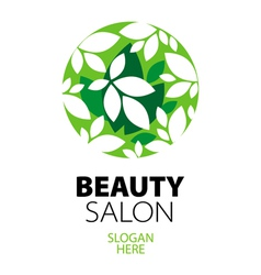 green ball of leaves logo for beauty salon vector image