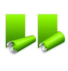 Green sticker with curled up edge vector image