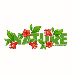 green tature horizontal banner with images vector image
