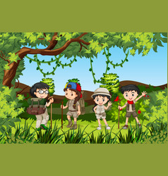 group of hiking kids vector image