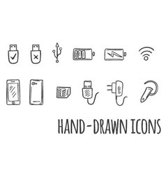 Hand drawn technology icons vector image