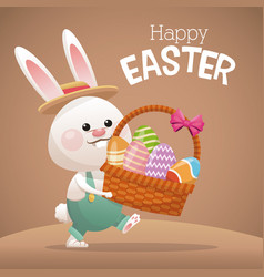 happy easter card bunny carrying basket egg vector image