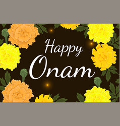 Happy onam congratulatory banner with a frame of vector