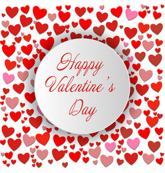 happy valentines day round lettering card eps10 vector image