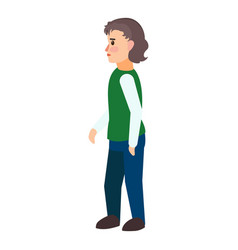 Immigrant boy icon flat style vector
