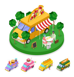 Isometric street food pizza truck with people vector
