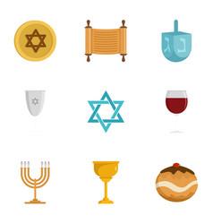 jewish religion icon set flat style vector image