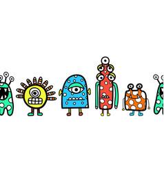kids border cute alien monster robot seamless vector image
