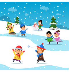 kids winter playing funny smile happiness vector image