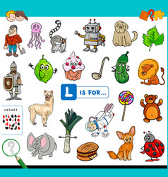 L is for educational game for children vector
