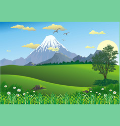 Landscape - mountain range on the horizon tree in vector
