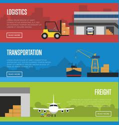 logistics and freight transportation banner set vector image