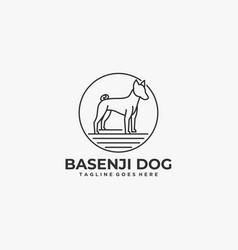 logo dog pose vintage badge style vector image