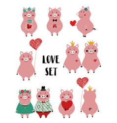 love set with funny pig vector image